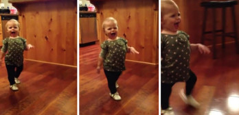 cute toddler imitates pregnant mom's walk