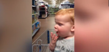 boy's reaction to toy store