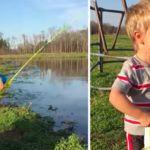 Cute Little Boy Surprises Dad By Catching A Fish With His Toy Rod